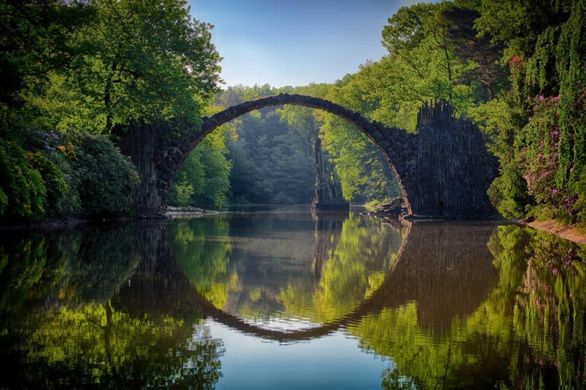 moon bridge reflection over pristine lake
