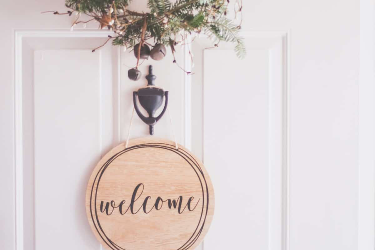 Welcome sign on a front door