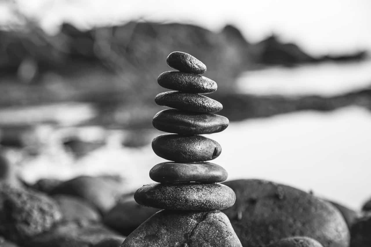 Rocks balancing on each other showing the beauty of simplicity
