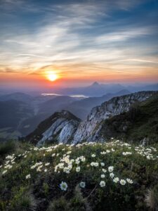 peaceful view of sunset and mountains